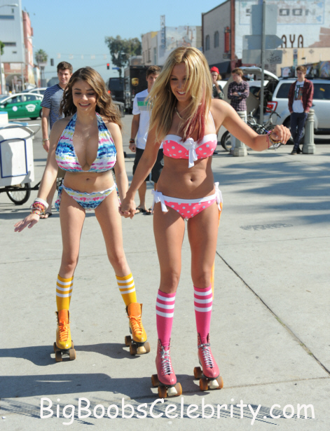 ashley_tisdale_sarah_hyland_roller_skating_bikinis